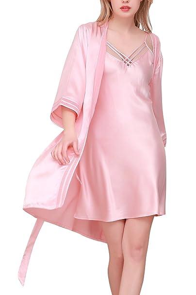 Dolamen Camisón para mujer con Vestido Kimono Satén, 2018 2-in-1 Mujer