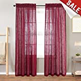 Linen Look Burgundy Sheer Curtains for Living Room Rod Pocket Curtain Panels for Bedroom Window Curtains 108 inch 1 Pair