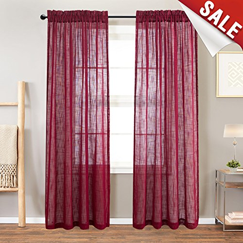 Linen Textured Sheer Window Curtains for Living Room Rod Pocket Curtain Panels 84 inches Long Drapes for Bedroom (2 Panels, ()