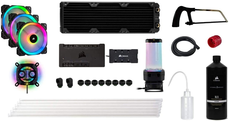 Corsair Hydro X Series, iCUE XH300i RGB Custom Cooling Kit (XC7 RGB (115X/AM4) GPU Water Block, XD5 Pump/Reservoir Combo, XL5 Coolant, XR5 Radiator, 3 x LL 120 RGB Fans, iCUE Commander PRO, etc)