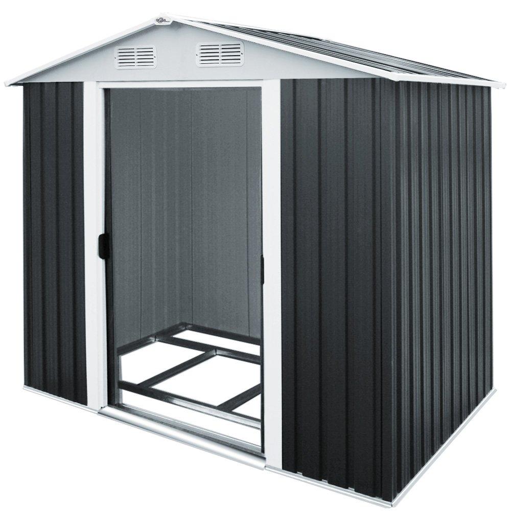 Cobertizo de almacenamiento de metal para jardín, 2, 4 x 1, 8 m.Cobertizo con puerta corredera de acero galvanizado; área de almacenamiento de 8, 38 m³.