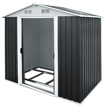 Cobertizo de almacenamiento de metal para jardín, 2,4 x 1,8 m