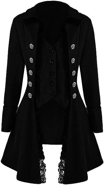 Huiyemy Damen Steampunk Barock Mantel, Gothic viktorianische Jacke Damen Frack viktorianisch Kostüm