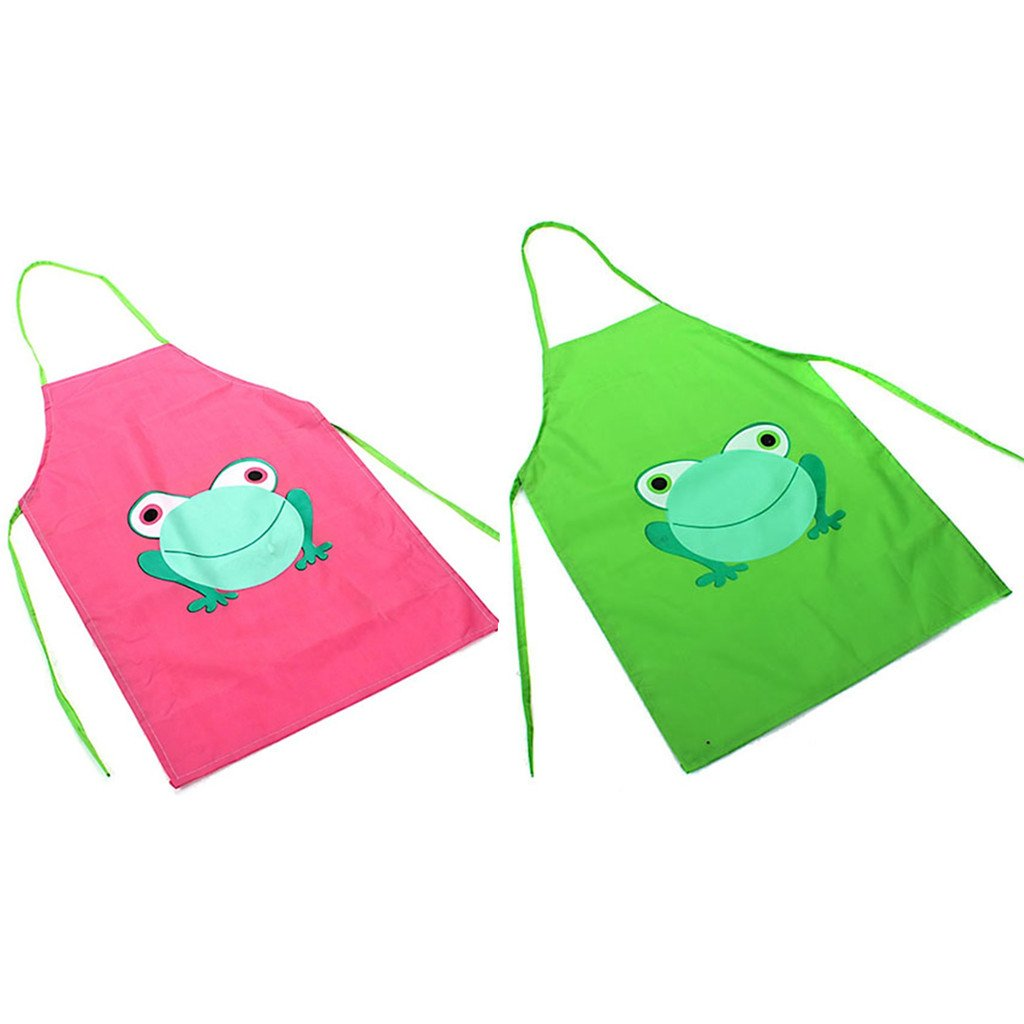 2 Piece Children Waterproof Apron with Cartoon Frog Printed for Painting Cooking (Green+Pink) Drcool