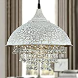 Lighting Groups American Retro Industrial Style Led European Creative Restaurant Cafe Bar Wrought Iron Single Head Crystal Chandeliers Livingroom Bedroom Lights (D13.7 x H12.6 Inch)
