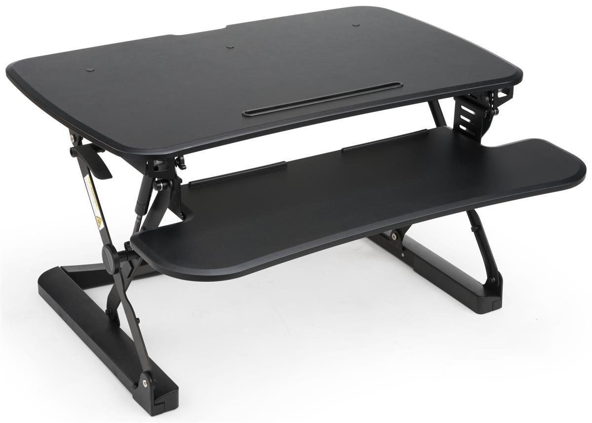 Displays2go, Computer Riser Standing Desk, Steel, MDF Construction, Height Adjustable – Black Finish(LTSSWDSKM) by Displays2go