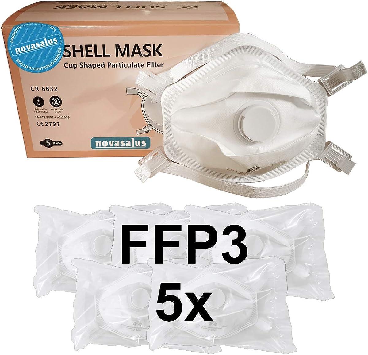 Novasalus mascarilla respirador FFP3 con Válvula, mascarillas protectoras en forma de copa, Certificado CE 2797 - Caja de 5 mascarillas FFP3 NR