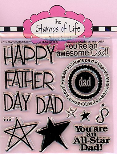 The Stamps of Life All4Dads Clear Stamps for Card Making and Scrapbooking (4x4 inch sheet) by Stephanie Barnard - Fathers Day Stamp ()