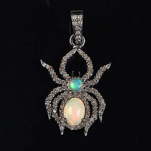 92.5 Solid Sterling Silver Pendant,Natural Diamond Star Shape Silver Pendant,Beautiful Handmade Silver Pendant,Black Pave Diamond Pendant