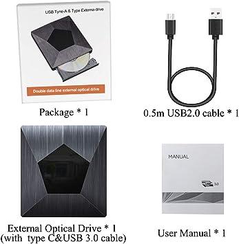 PiAEK Lector CD DVD Externo USB 3.0 con Type C, Lector Grabadora Unidad Reproductor de DVD CD Portátil CD-RW/DVD-RW CD RW Row Rewriter Burner para Macbook OS con Windows PC: Amazon.es: Electrónica