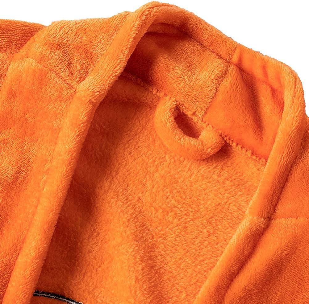 zyeziwhs Peignoir pour Hommes v/êtements de Nuit d/écontract/é Longueur au Genou Cosplay Robe avec Ceinture Pyjamas Manteau Doux Confortable Polaire pour Automne Hiver Orange