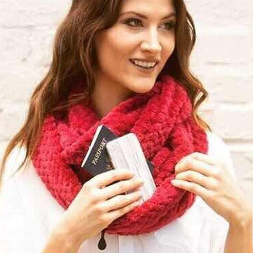 Zipper Pocketed Scarf Knitting, Unisex Lovers Winter Solid Warm Loop Scarf Zippered Secret Pocket Shawl Ring