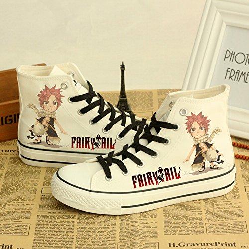 Fairy Tail Canvas Zapatos Cosplay Zapatos Sneakers White White 2
