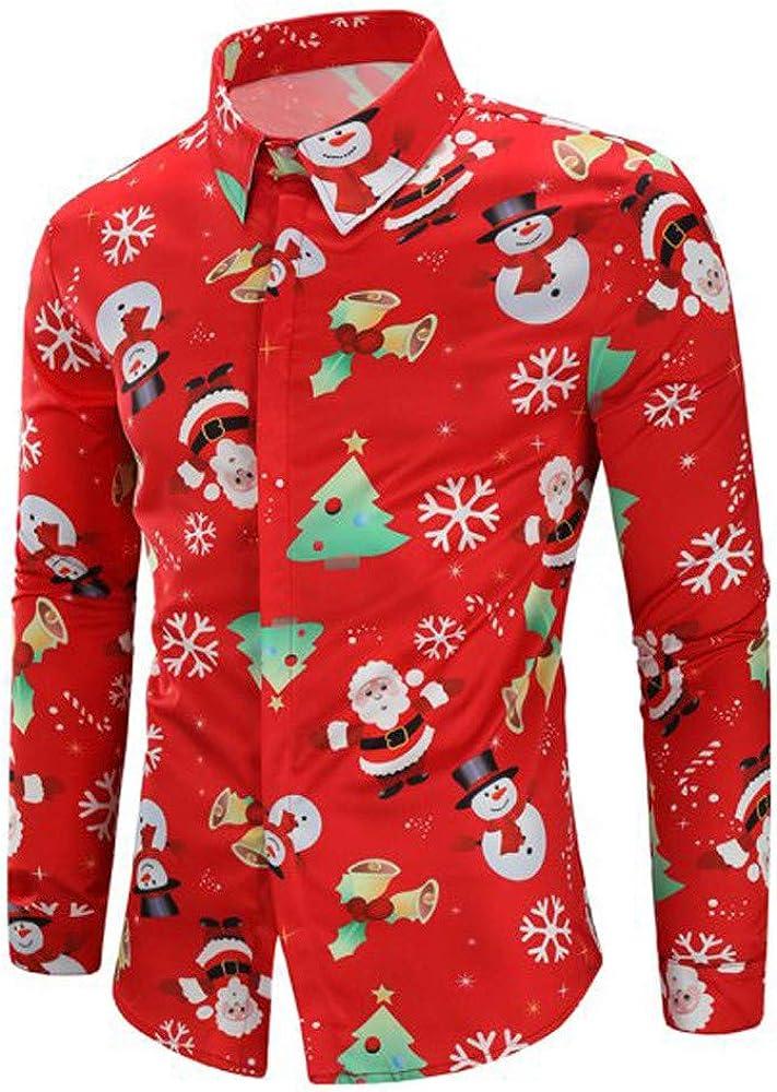 Men Casual Snowflakes Santa Candy Printed Christmas Shirt Top squarex Blouse