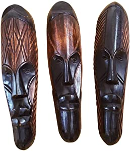 NOVARENA African Art Cameroon Gabon Fang Wall Masks and Sculptures - Africa Home Mask Decor (3 Pc Set of Black & Brown 12 Inch Fang Masks)