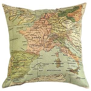 Mapa del Mundo Cojín Lienzo Patrón Pillow Almohada de coches (sin almohada)