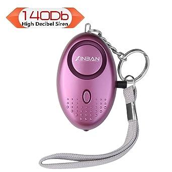 Alarma Personal 140db Alto Decibeles Alarma con linterna de para las mujeres/niños/Ancianos/niñas/Explorer (púrpura)