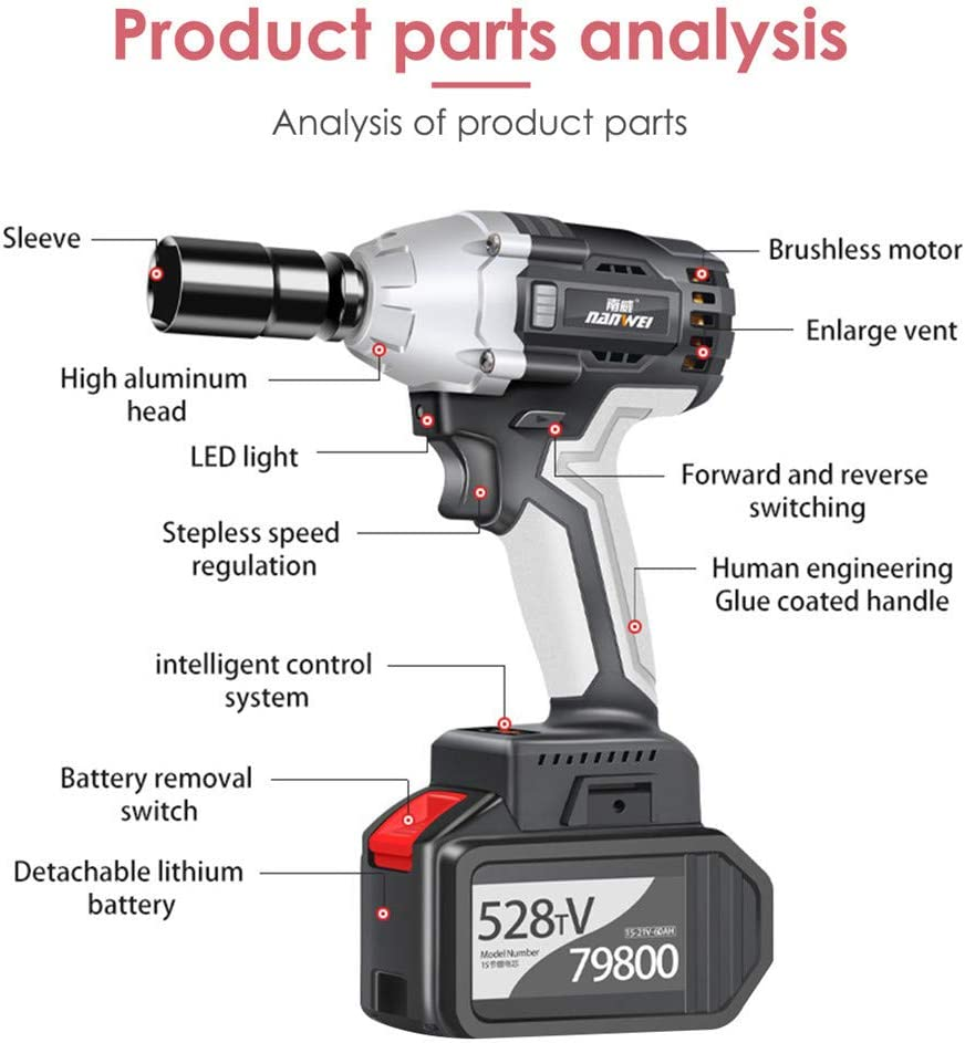 motor sin escobillas de 21 V potente kit de llave de impacto de 1//2 pulgada par m/áximo 450 Nm bater/ía de 6,0 AH con cargador r/ápido Llave de impacto inal/ámbrica InLoveArts