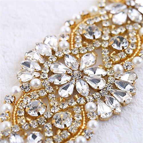Bolsas Cinturones Boda Oro Headpieces Vestido piezas para Perlas Applique Rhinestone 2 el 009 para Vestido Cinturon Cristales y con Novia PWzWTUav