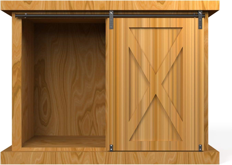 "4ft Mini Sliding Barn Door Hardware Cabinet Track Kit, Double Opening Cabinet Barn Door Fit 12""-16"" Wide Door Panel,Easy Install for TV Stand Window Closet Cabinet (No Cabinet)"