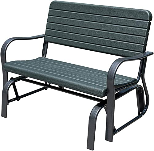 Sundale Outdoor Outdoor Deluxe 2 Person Loveseat Glider Bench Chair Patio Porch Swing with Rocker, Dark Green, 18 L x 45 W x 34 H Inches,