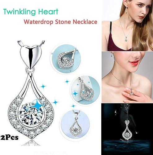 RYGHEWE Women Pendant Necklace Luxurious Silver Twinkling Heart Waterdrop Stone Necklace