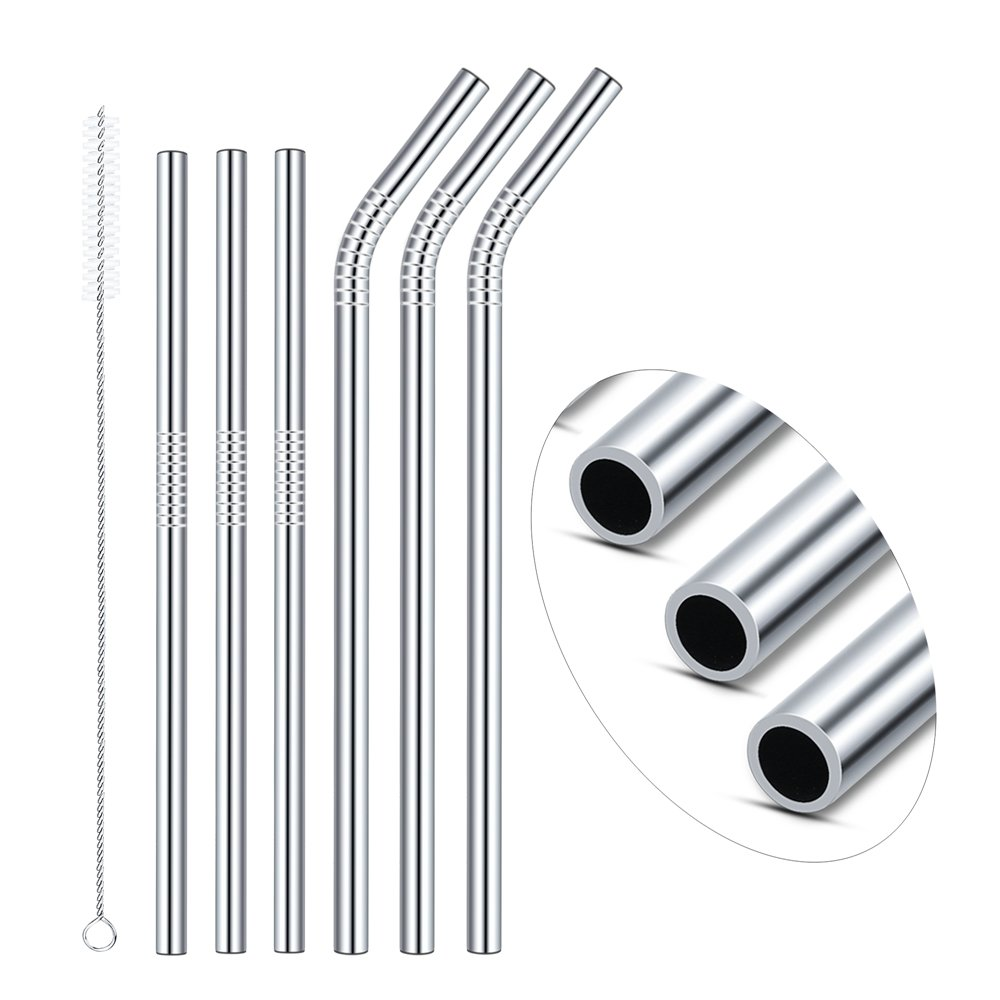 Premium Stainless Steel Straw, 6 Packs 0.4'' Wide Reusable straws for BOBA Tea, Smoothies, 8.5''& 10.5'' Metal Straws for 20oz 30oz Yeti Tumblers, and 1 Free Cleaning Brushes(3Straight+3Bent+1Brush) by Cycheers