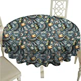 duommhome Explore Durable Tablecloth Cartoon Traveling Pattern with Coins Credit Cards Compass and Roads Doodle Design Easy Care D63 Multicolor