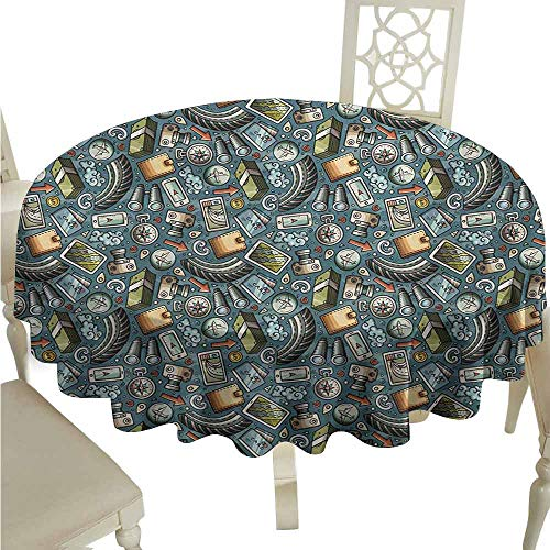 duommhome Explore Oil-Proof Tablecloth Cartoon Traveling Pattern with Coins Credit Cards Compass and Roads Doodle Design Easy Care D55 Multicolor ()