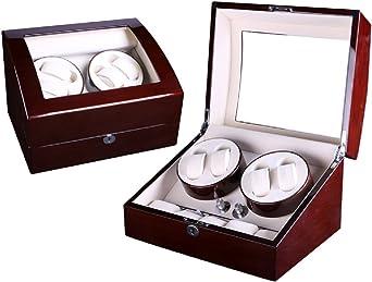 Lindberg & Sons Estuche con Rotor para 4 Relojes automáticos y 5 Compartimentos adicionales Madera Negra Cuero sintético Luces LED - UBBB9ORRWCR: Amazon.es: Relojes