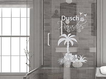 GRAZDesign 980188_57 Fenstertattoo Schriftzug Dusch Paradies mit Palme |  Fensterfolie fürs Badezimmer - Glastattoo für Dusche (104x57cm)