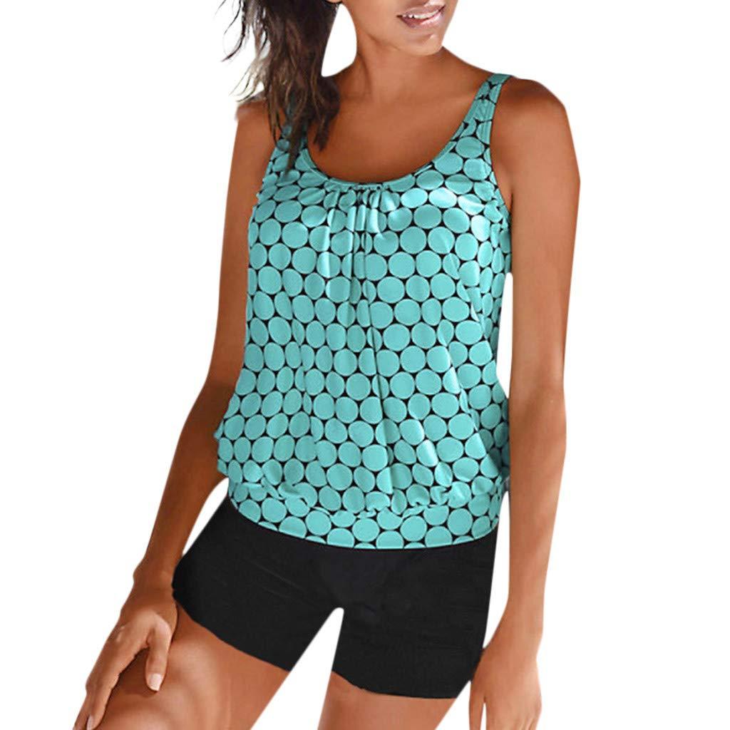 Dunacifa Women Swimwear Two Piece Plus Size Tankini Swimdress Padded Swimsuit Beachwear