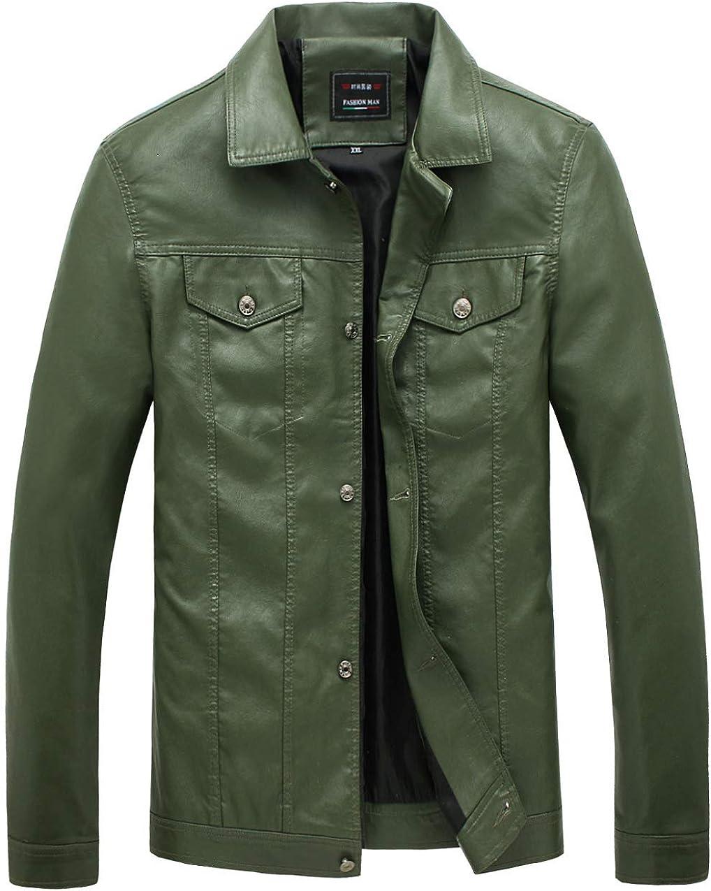 KIWEN Mens Button Down PU Leather Collar Jacket Casual Wear