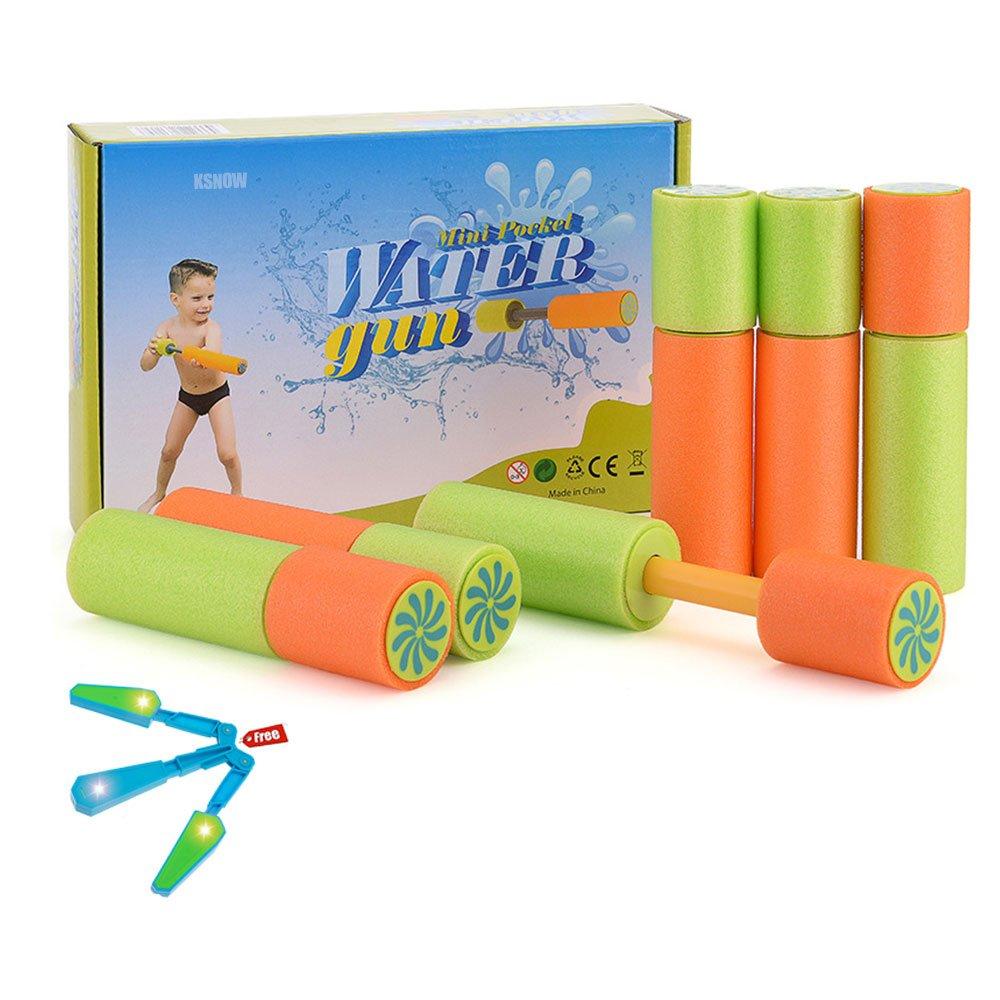 KSNOW Water Guns,6 Pack Mini Super Soaker Foam Water Blaster Gun Toys Swimming Pool Beach Garden 1 PC Fidget Toy Free by KSNOW (Image #1)