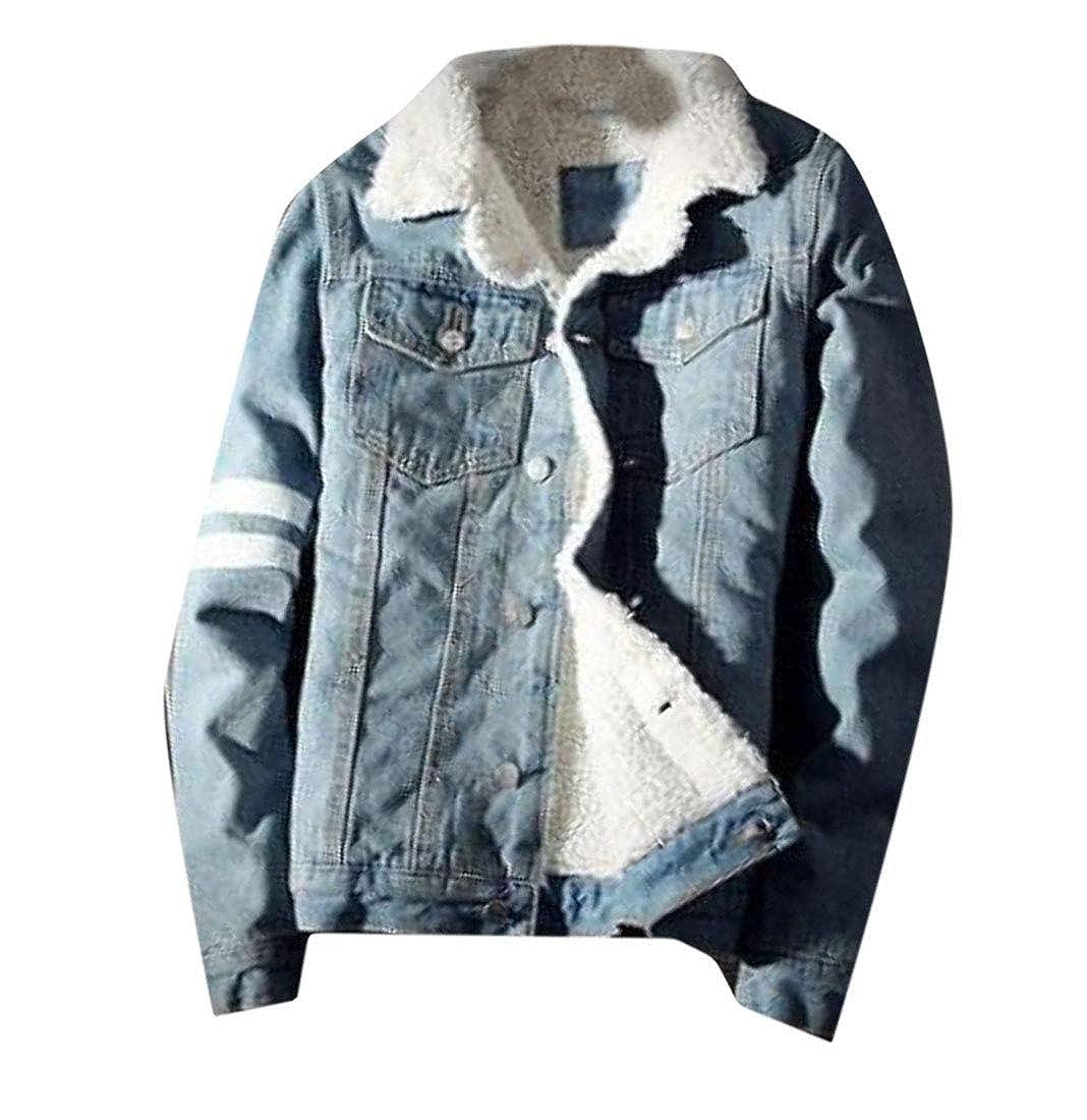 Pivaconis Mens Casual Denim Overcoat Slim Jacket Fleece Thickened Parkas Coat