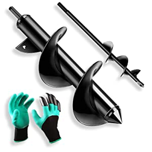 KINMRIS Auger Drill Bit 2 PCS Set with Garden Genie Gloves for Planting Hole Drill Planter Auger Spiral Hole Drill Bit Bulb Bedding Digging Post Hole Planting Tool 12