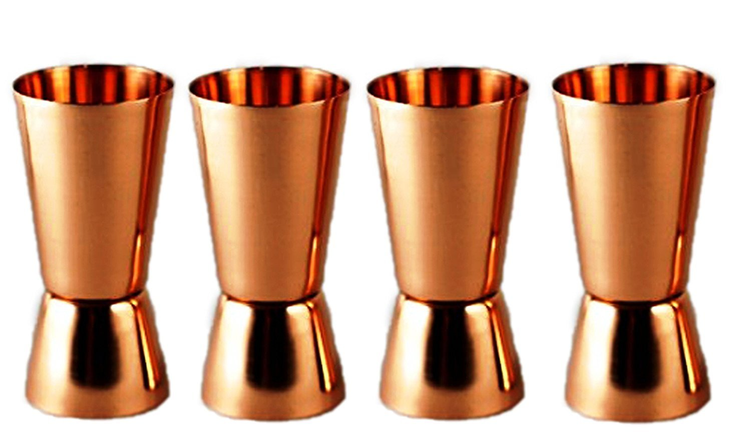 PARIJAT HANDICRAFT Set of 4 Pure Copper Measuring Jigger Shot Glasses Double Sided Jiggers - 2 Ounce and 1 Ounce.
