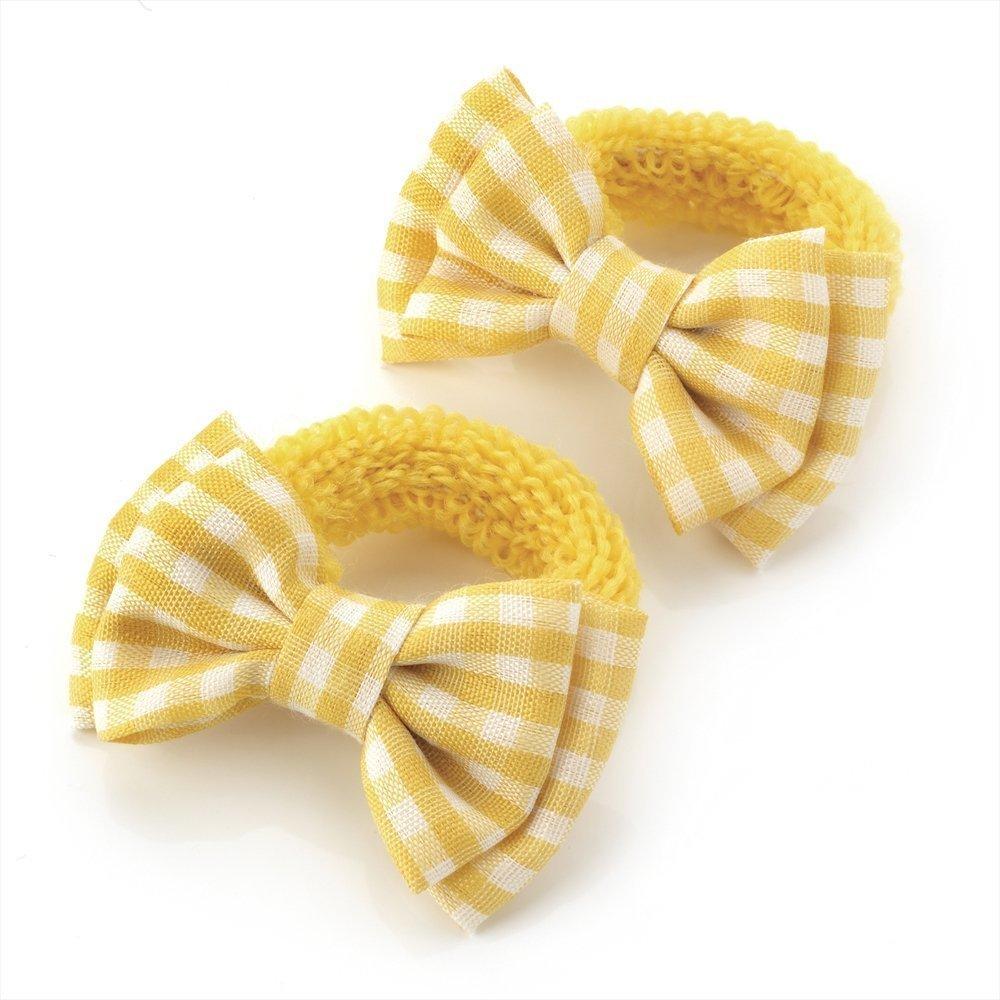 1 Paar Mini Mädchen-Haargummis, mit Schleife, Gingham-Muster, Gelb