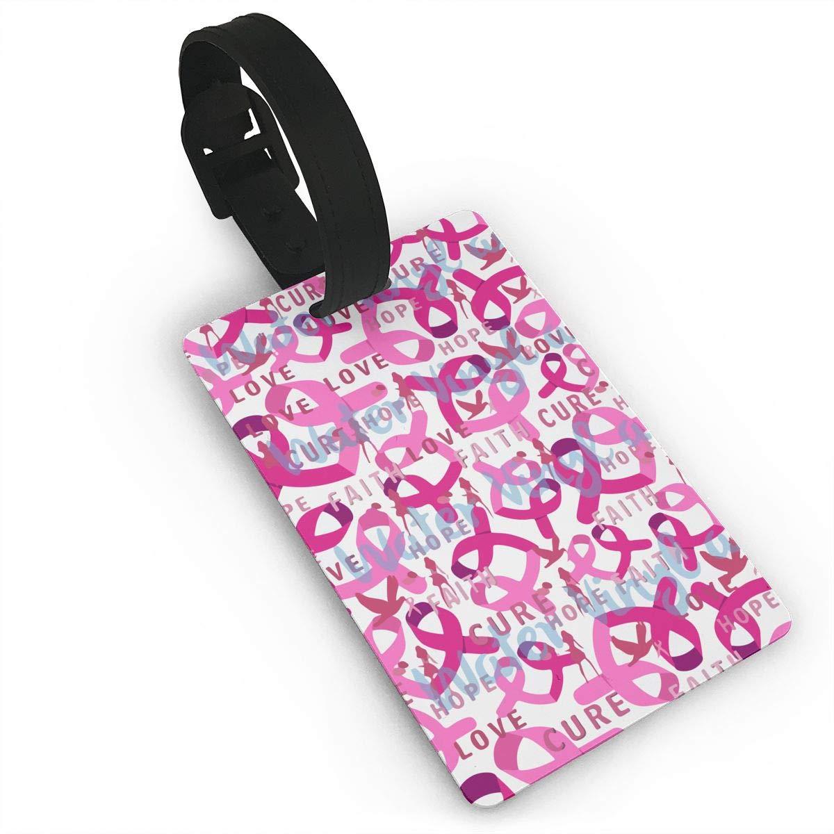 ピンク 乳がんロゴ 荷物タグ トラベルバッグ ラベル スーツケース バッグ ID タグ 名前 アドレスカード B07JWM8GGJ