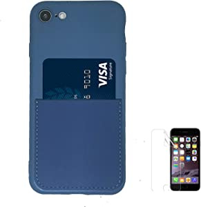 Oddss Blue Silicone Case for iPhone SE 2020,for iPhon 7/8 4.7 inch Liquid Silicone Wallet Case with Card Holder Slot Soft Slim Cover Compaible iPhone 8/7, iPhone SE 2020 with Screen Protector