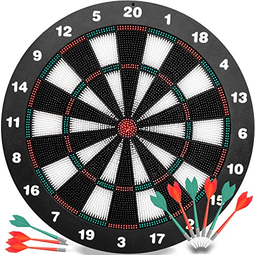 Safety Darts and Kids Dart Board Set – 16 Inch Rubber Dart Board with 9 Soft Tip Darts for Children and Adults, Office and Family Time