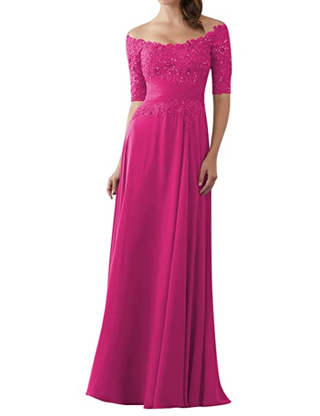 Evening Dresses Mother Of The Bride Gowns With Sleeves Lace Long Chiffon Beaded