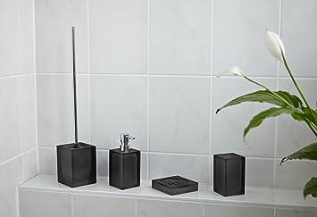Accesorio de baño-rojo y negro 4 teilig WC-escobillero jabonera dispensador de vasos: Amazon.es: Juguetes y juegos