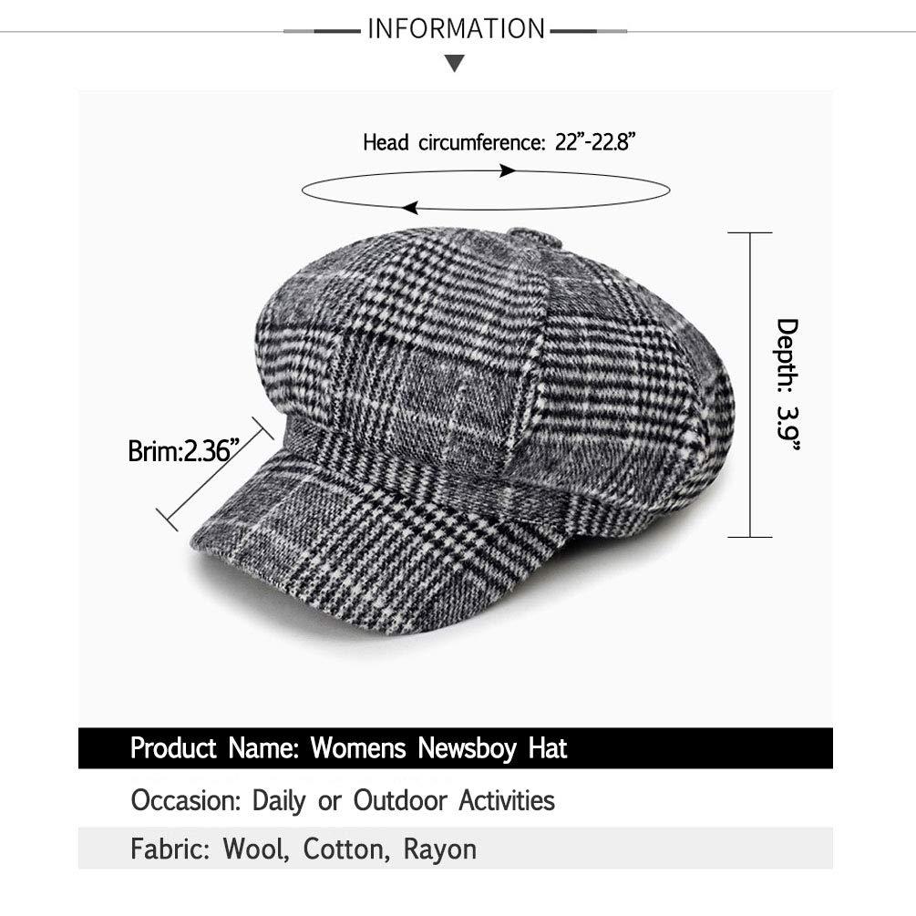 f45a959e713 Blmusi Newsboy Beret Hat for Women Cabbie Hats Fall Visor Cap Paperboy  Painter Hat…