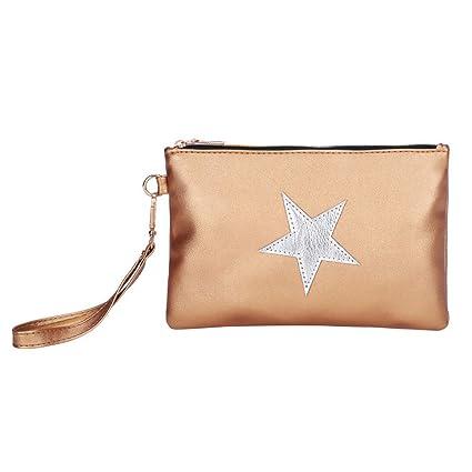 ALIKEEY Las Mujeres Moda Cuero Modelo Estrella Cremallera Bolsa Embrague Bolsa Bolso La Moneda del Maquillaje