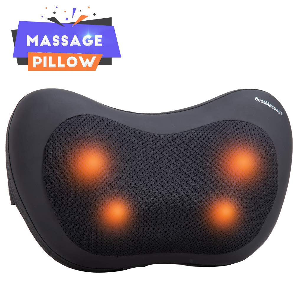 Shiatsu Back Neck Massager Shiatsu Massage Pillow Neck Massager Pillow Kneading Massage Pillow with Heat for Stress Relief Ultimate Relaxation Shoulders Lower Back Calf Legs Foot