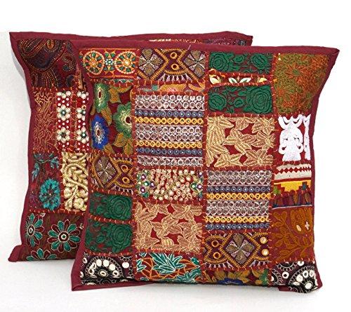 2pc Ethnic Sari Patchwork Pillow Cover , 17x17