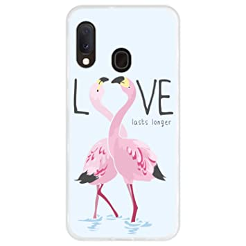Hapdey Funda Transparente para [Samsung Galaxy A20e] diseño [Flamencos con Eslogan - Love Lasts Longer] Carcasa Silicona Flexible TPU
