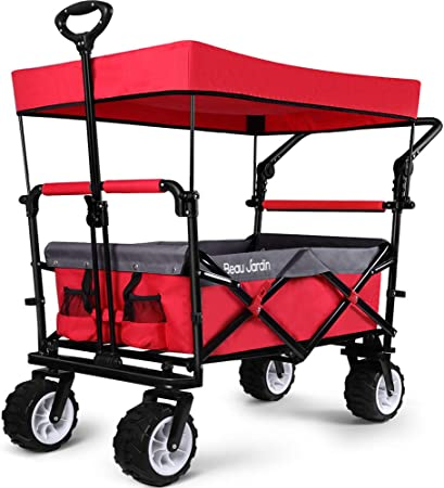 Collapsible Folding Wagon Cart Outdoor Utility Garden Beach Trolley W//Canopy New