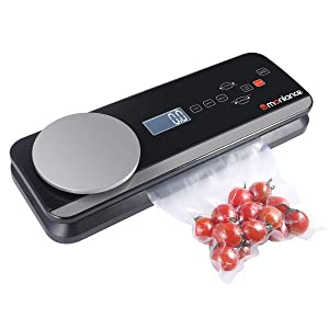 Vacuum Sealer Machine with Touch Pannel and LCD Display, Built-in Scale and Cutter, Automatic Vacuum Air Sealing System(Dry & Moist Food Modes) with Starter Kits-Black